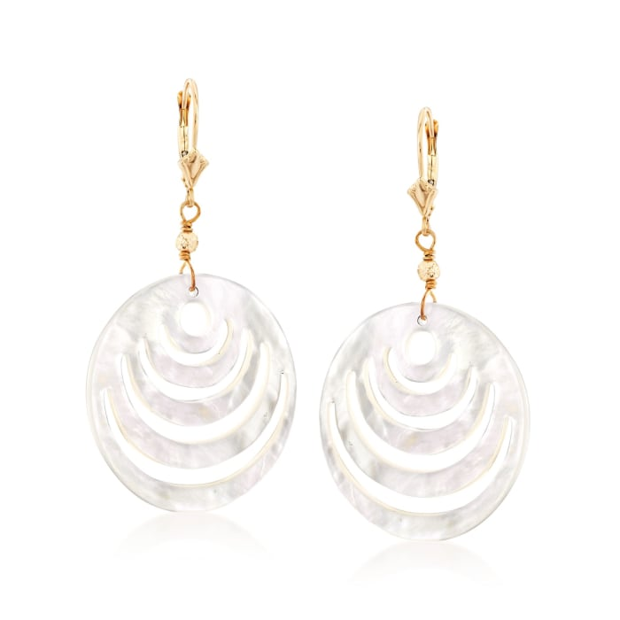 Carved Mother-Of-Pearl Disc Drop Earrings in 14kt Yellow Gold