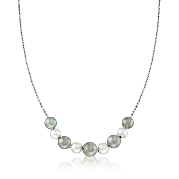 """Mikimoto """"Japan"""" 7.5-10mm A+ Akoya and Black South Sea Pearl Adjustable Necklace in 18kt White Gold"""