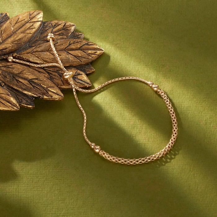 Italian 18kt Gold Over Sterling Mesh-Style Bolo Bracelet