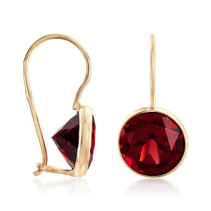 4.20 ct. t.w. Garnet Drop Earrings in 14kt Yellow Gold