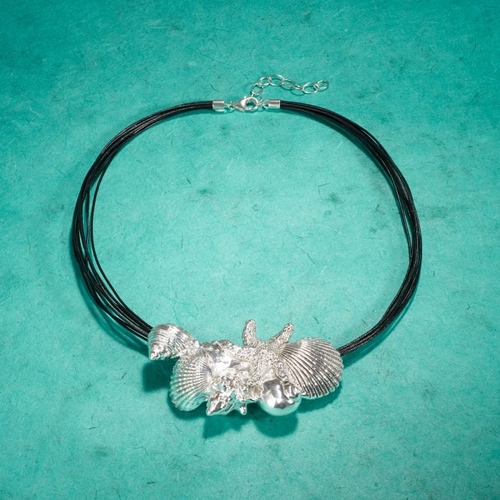 Sterling Silver and Black Leather Starfish and Seashells Necklace