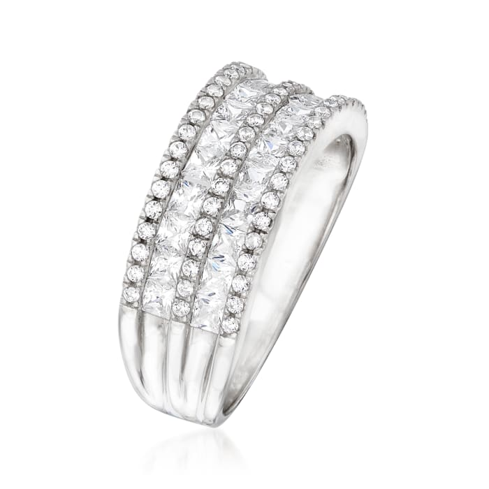 1.50 ct. t.w. CZ Double-Row Ring in Sterling Silver