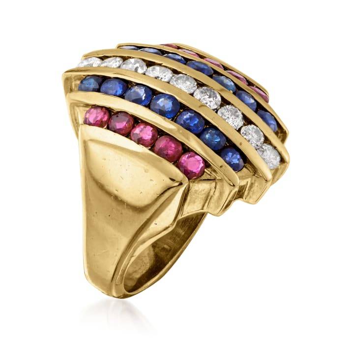 C. 1980 Vintage 2.40 ct. t.w. Multi-Gemstone and .90 ct. t.w. Diamond Multi-Row Ring in 14kt Yellow Gold