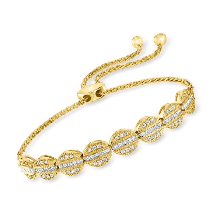 .50 ct. t.w. Diamond Bolo Bracelet in 18kt Gold Over Sterling
