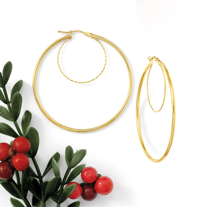 Italian 14kt Yellow Gold Double-Hoop Earrings