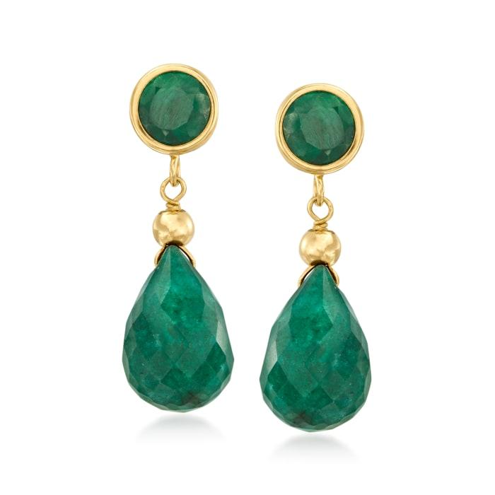 12.00 ct. t.w. Emerald Drop Earrings in 14kt Yellow Gold
