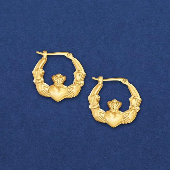 14kt Yellow Gold Claddagh Hoop Earrings