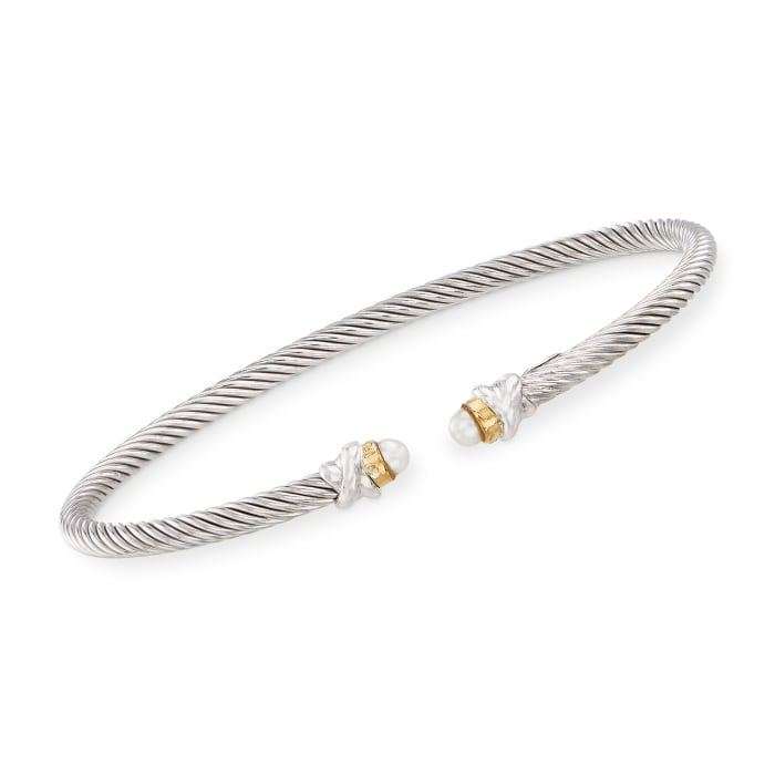 """Phillip Gavriel """"Italian Cable"""" 3.2mm Cultured Pearl Sterling Silver Cuff Bracelet with 18kt Gold"""