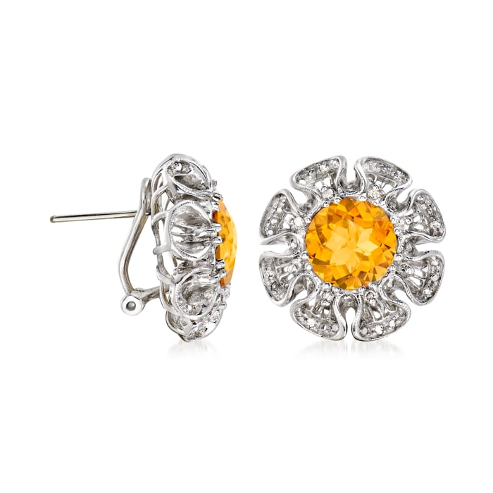 C. 1990 Vintage 6.00 ct. t.w. Citrine and .25 ct. t.w. Diamond Flower Earrings in 14kt White Gold