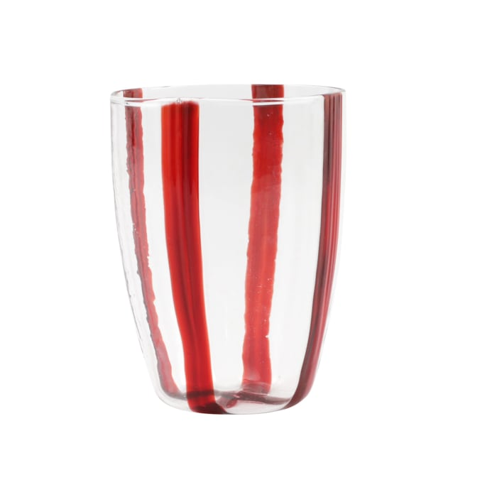 """Vietri """"Stripe Red"""" Tall Tumbler from Italy"""