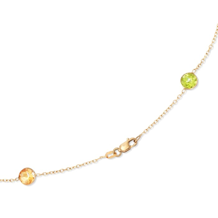 27.65 ct. t.w. Multi-Stone Station Necklace in 14kt Yellow Gold