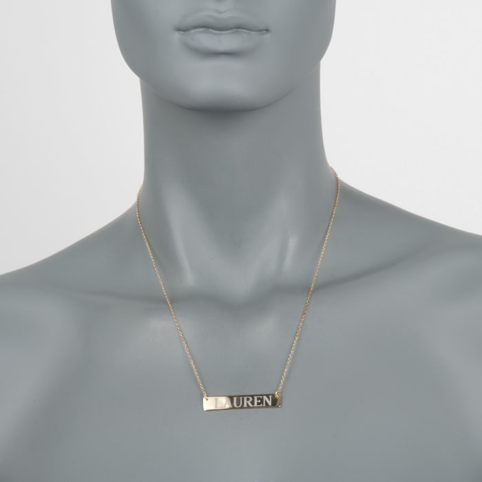 24kt Yellow Gold Over Sterling Silver Name Bar Necklace