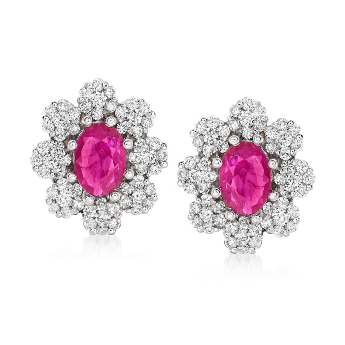 2.00 ct. t.w. Ruby and 1.00 ct. t.w. Diamond Flower Earrings in 14kt White Gold