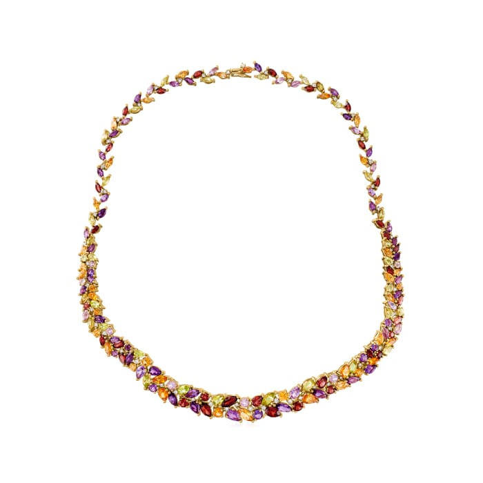 15.20 ct. t.w. Multi-Gemstone and 1.09 ct. t.w. Diamond Leaf Vine Necklace in 14kt Yellow Gold