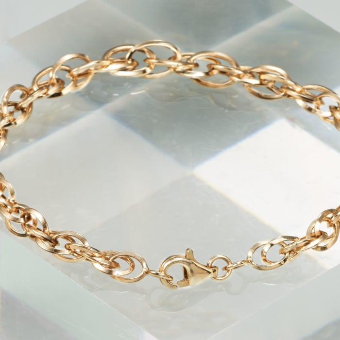 14kt Yellow Gold Interlocking Double Oval-Link Bracelet