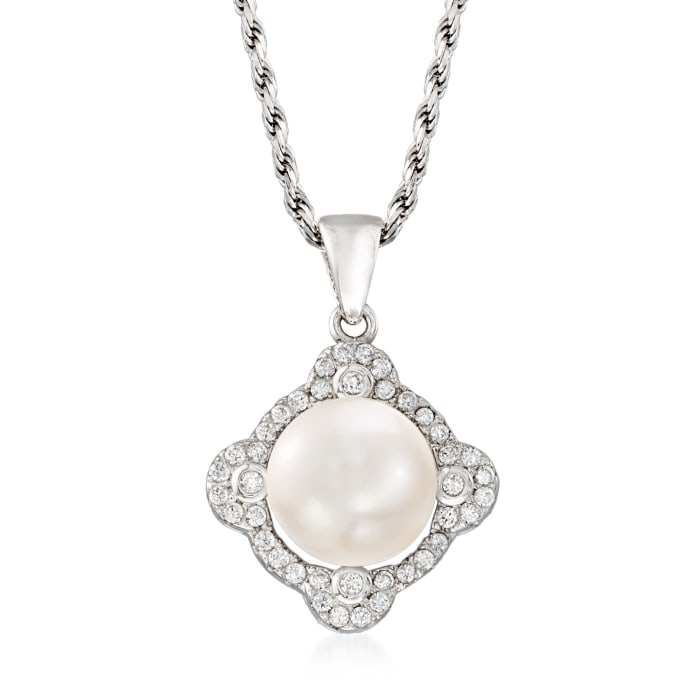 9-10mm Cultured Pearl and .20 ct. t.w. CZ Pendant Necklace in Sterling Silver