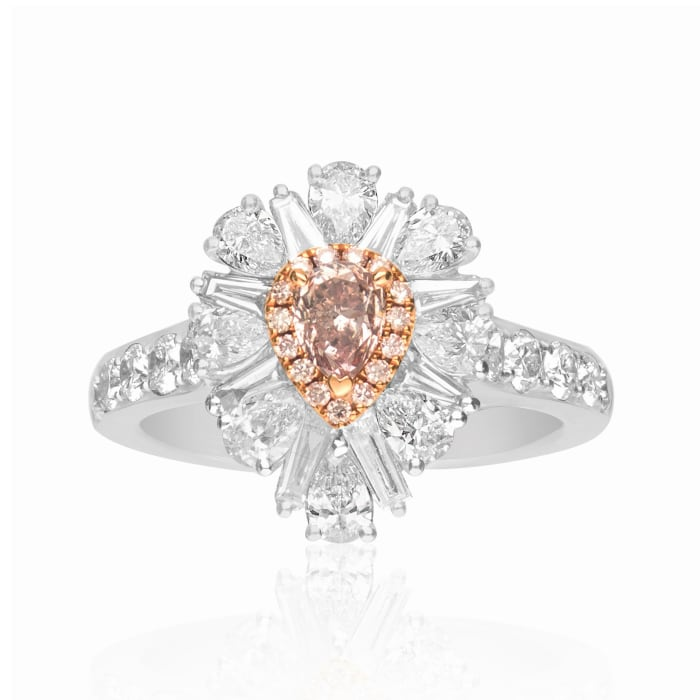 .41 ct. t.w. Certified Pink Diamond Ring with 1.89 ct. t.w. Pink and White Diamonds in 18kt Two-Tone Gold