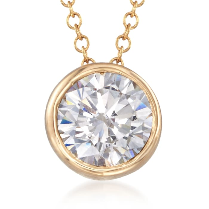 1.00 Carat CZ Solitaire Necklace in 14kt Yellow Gold