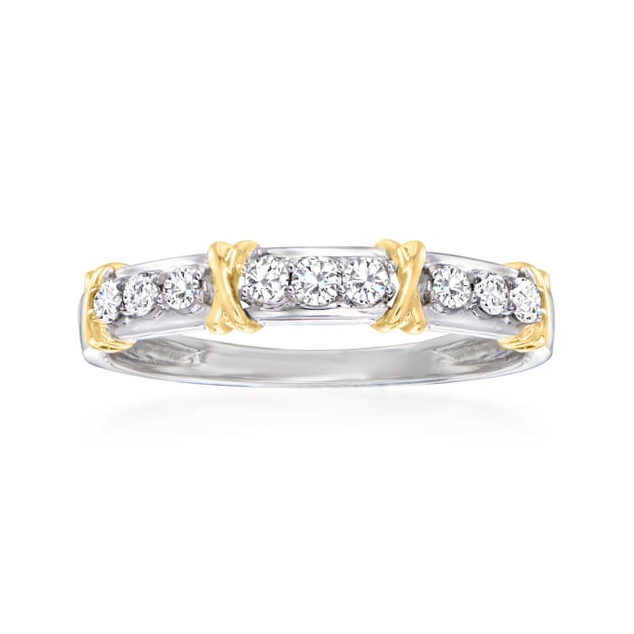 .25 ct. t.w. Diamond X Station Ring in 14kt Two-Tone Gold