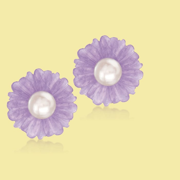 9-9.5mm Cultured Pearl and Purple Jade Flower Earrings in 14kt Yellow Gold
