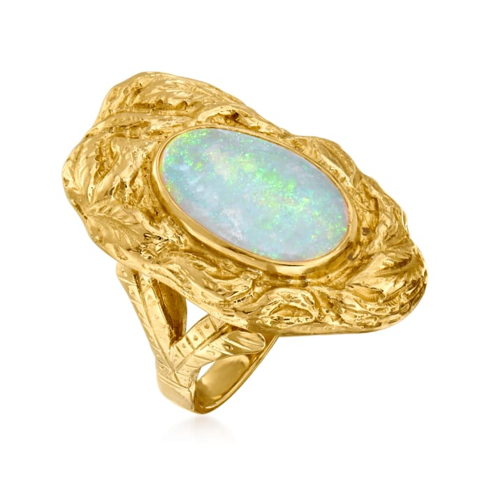 C. 1970 Vintage Opal Ring in 14kt Yellow Gold