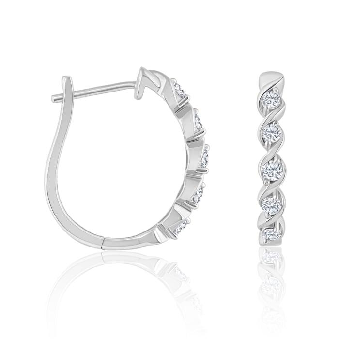 .32 ct. t.w. Diamond Twist Hoop Earrings in 14kt White Gold