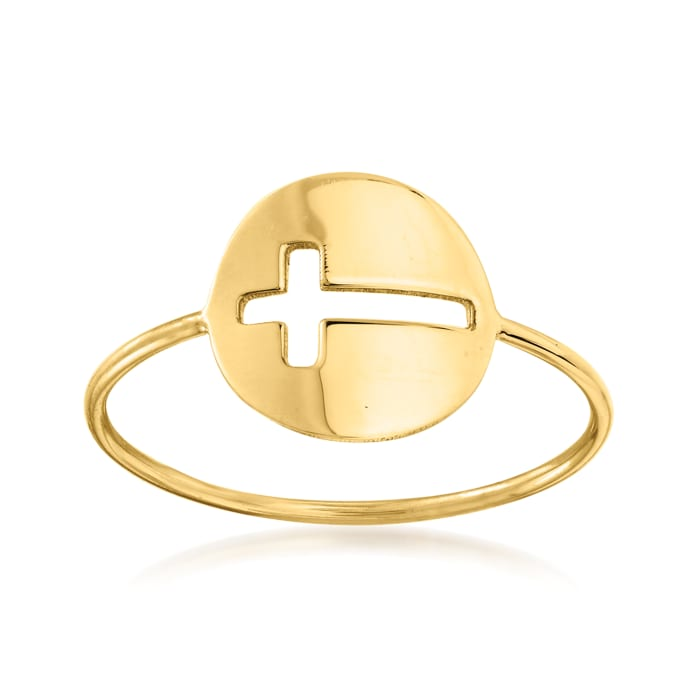 Italian 14kt Yellow Gold Cut-Out Cross Ring