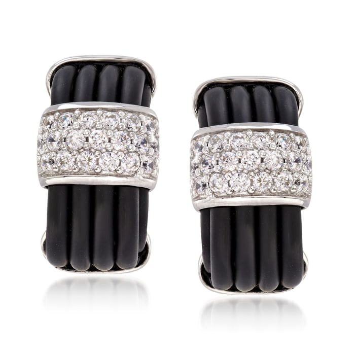 "Belle Etoile ""Adagio"" 1.00 ct. t.w. CZ and Black Rubber Earrings in Sterling Silver"