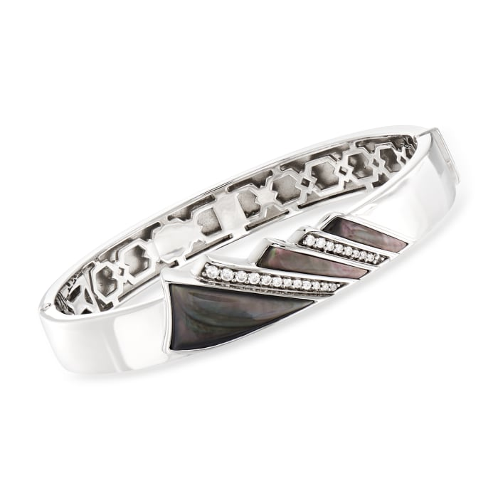 """Belle Etoile """"Empire"""" Black Mother-Of-Pearl and .36 ct. t.w. CZ Bangle Bracelet in Sterling Silver"""