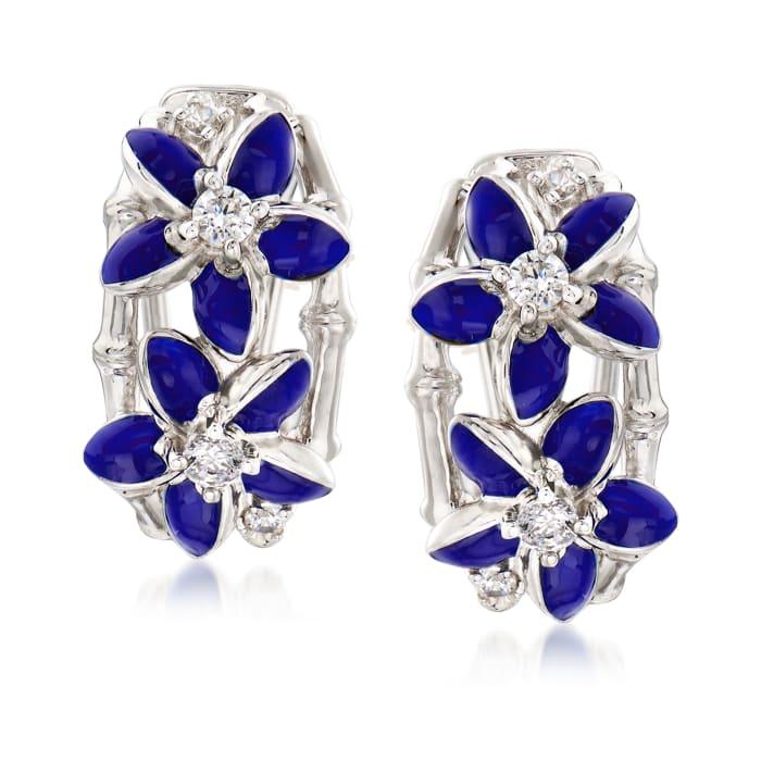 """Belle Etoile """"Leilani"""" Blue Enamel and .34 ct. t.w. CZ Flower Hoop Earrings in Sterling Silver"""