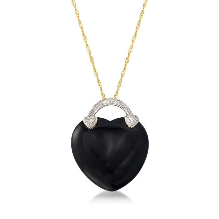 Black Onyx Heart Necklace in 14kt Yellow Gold