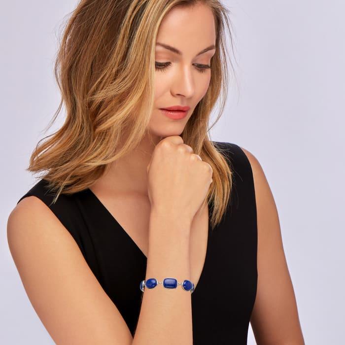Lapis-Linked Bracelet in Sterling Silver