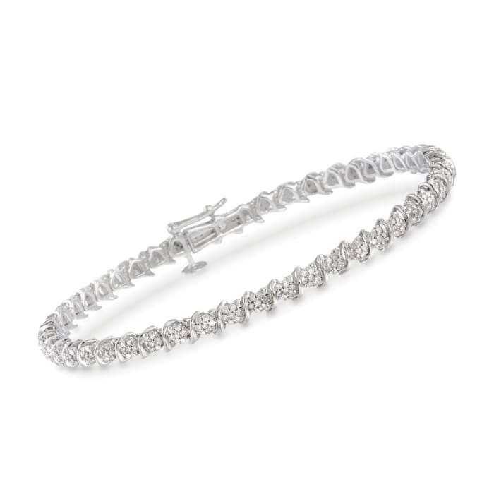 1.00 ct. t.w. Diamond Cluster Tennis Bracelet in Sterling Silver