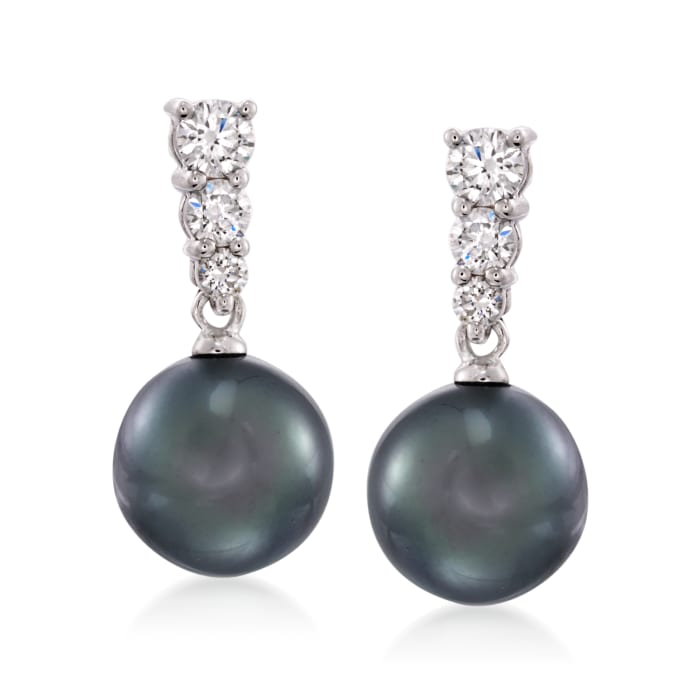 Mikimoto 9mm Black South Sea Pearl Earrings with Diamonds in 18kt White Gold