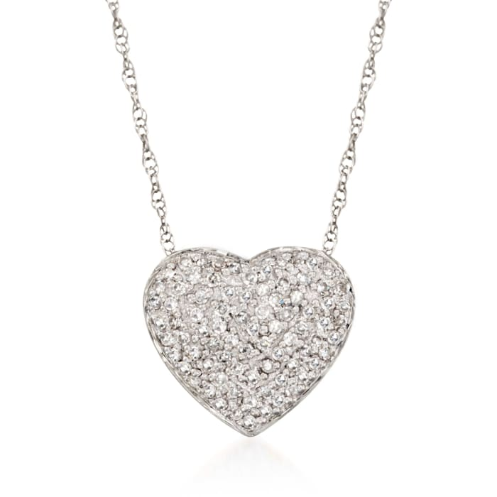 .25 ct. t.w. Diamond Heart Pendant Necklace in 14kt White Gold