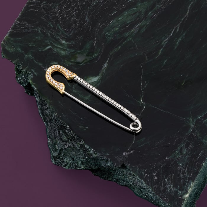 .16 ct. t.w. Diamond Safety Pin in Sterling Silver and 14kt Yellow Gold