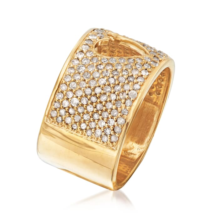 1.00 ct. t.w. Diamond Open-Space Heart Ring in 18kt Gold Over Sterling