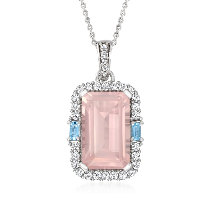 6.75 Carat Rose Quartz, .70 ct. t.w. White Zircon and .10 ct. t.w. Blue Topaz Pendant Necklace in Sterling Silver