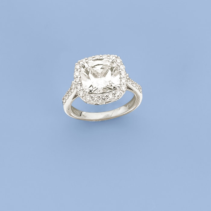 5.10 ct. t.w. CZ Halo Ring in Sterling Silver
