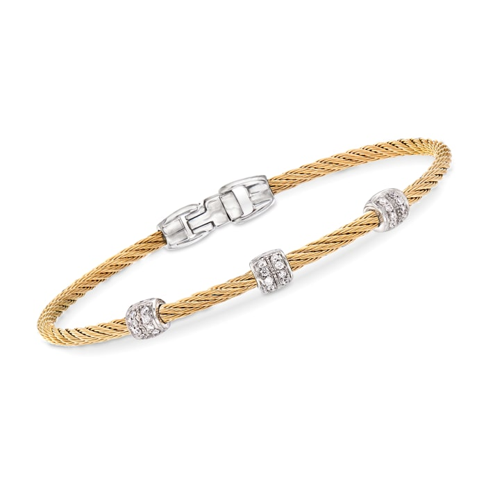 """ALOR """"Classique"""" .21 ct. t.w. Diamond Yellow Stainless Steel Cable Bracelet with 18kt White Gold"""