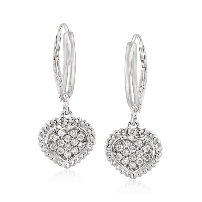 .26 ct. t.w. Pave Diamond Heart Drop Earrings in Sterling Silver