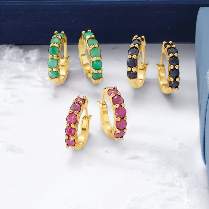 2.60 ct. t.w. Ruby, Emerald and Sapphire Jewelry Set: Three Pairs of Huggie Hoop Earrings