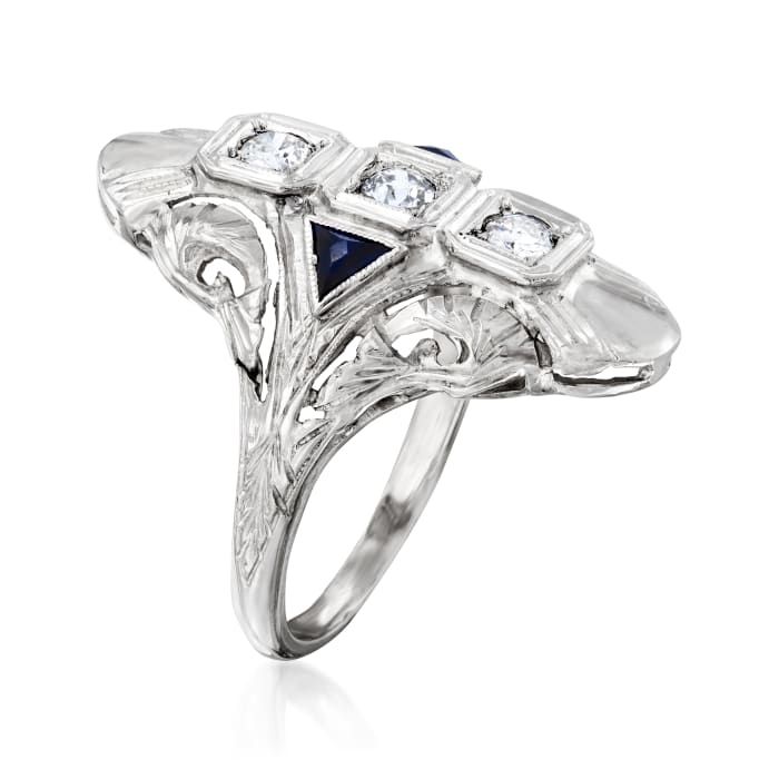 C. 1970 Vintage .25 ct. t.w. Diamond and .15 ct. t.w. Synthetic Sapphire Ring in 18kt White Gold