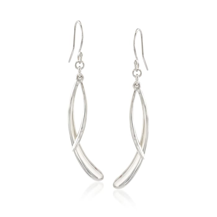 """Zina Sterling Silver """"Contemporary"""" Double Drip Drop Earrings"""