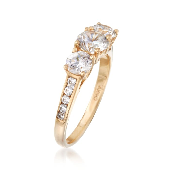 1.70 ct. t.w. CZ Three-Stone Ring in 14kt Yellow Gold
