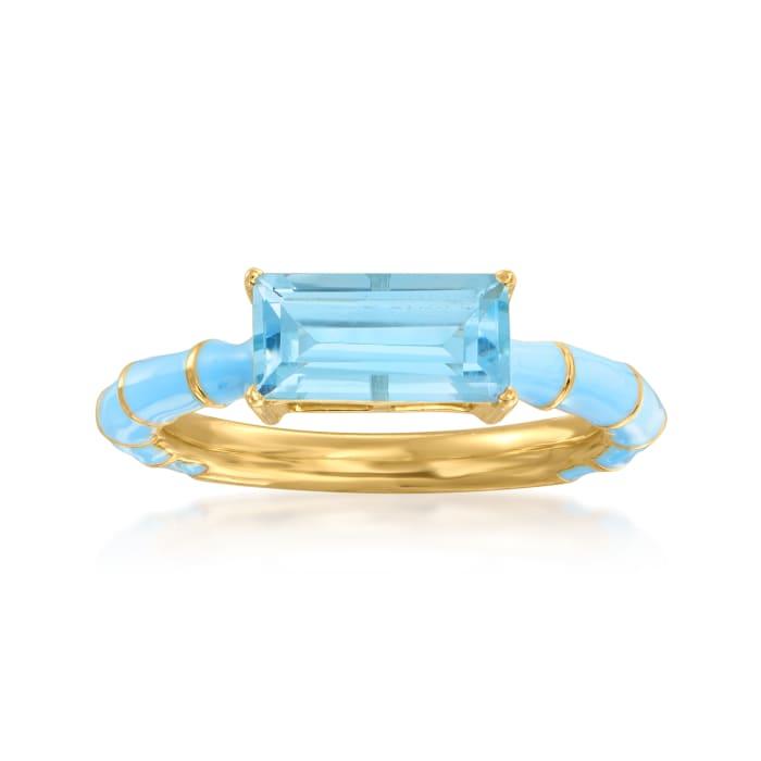 1.70 Carat Sky Blue Topaz Ring with Sky Blue Enamel in 18kt Gold Over Sterling