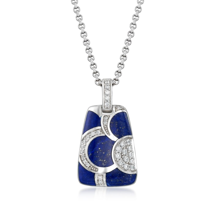 """Belle Etoile """"Adina"""" Lapis and .45 ct. t.w. CZ Pendant in Sterling Silver"""