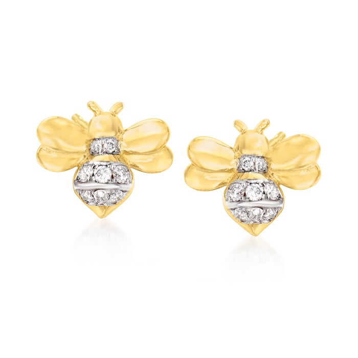 .10 ct. t.w. Diamond Bumble Bee Stud Earrings in 18kt Gold Over Sterling