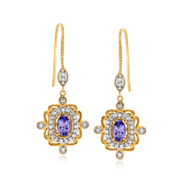.90 ct. t.w. Tanzanite and .50 ct. t.w. White Zircon Drop Earrings in 18kt Gold Over Sterling