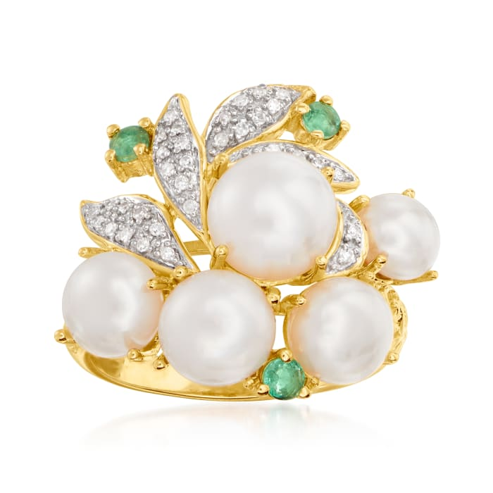 5-8mm Cultured Pearl and .10 ct. t.w. Emerald Ring with Diamond Accents in 18kt Gold Over Sterling